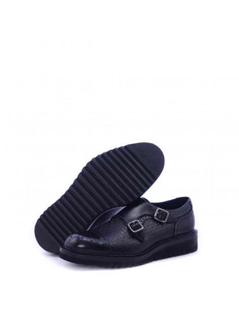 Ανδρικά παπούτσια Monk Straps μαύρα