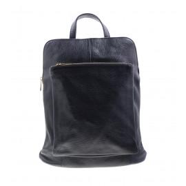 Μαύρη Δερμάτινη Τσάντα Πλάτης