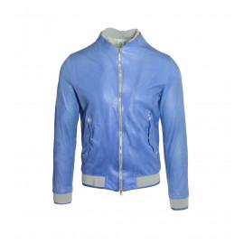 Μπλε Δερμάτινο Bomber Jacket