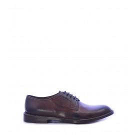 Ανδρικά παπούτσια δερμάτινα Derby σε καφέ χρώμα