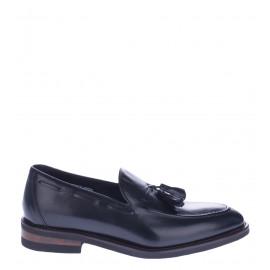 Μαύρα Ανδρικά Δερμάτινα Παπούτσια Μοκασίνια