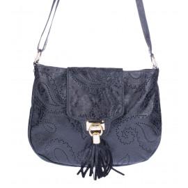 Μαύρη Δερμάτινη Γυναικεία Τσάντα Ώμου