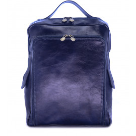 Μπλε Δερμάτινη Τσάντα Πλάτης