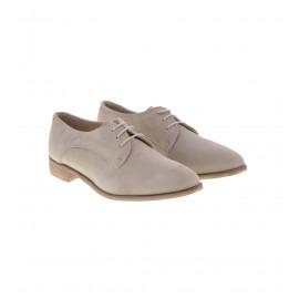 Μπεζ Δερμάτινα Δετά Παπούτσια