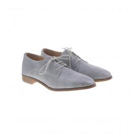Ασημί Δερμάτινα Δετά Παπούτσια